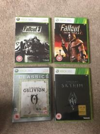 Fallout 3, New Vegas, Oblivion and Skyrim Xbox 360 games