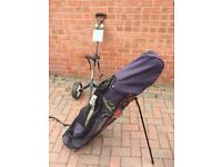 Golf clubs the doctor macgregor irons howson taylormade woods trolley bag tees and balls