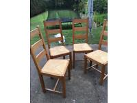 4 oak ladder back dining chairs