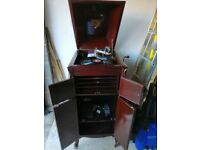 HMV wind up gramophone in cabinet