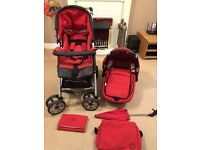 Jane Carrera Travel System from newborn onward with car seat attachments