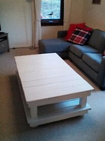 Modern large white solid wood coffee table with matching side table