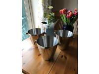 3 stainless steel wine buckets