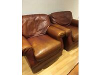 Two comfortable brown leather lounge chairs 2 for £40!!