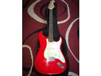 Fender squier guitar fiesta red