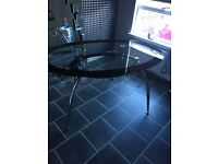 Black Oval Glass Dining Table