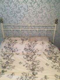 cream metal double bed frame SOLD