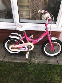 "LITTLE GIRLS RALEIGH MOLLY 14"" BIKE, GOOD CONDITION, new stabilisers available £5"