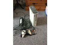 Xbox 360 white with cables and 1 controller
