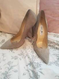 Jimmy Choo - UK Size 5.5 - Suede - Grey with Silver Diamantes