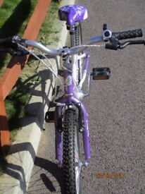 Girl's bike suitable for 4 to 8 yrs in purple and white. Very good condition.
