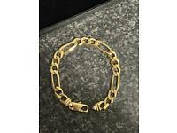 9ct 9 carat solid gold figaro curb bracelet NOT Chaps hook bangle belcher chain saddle buckle