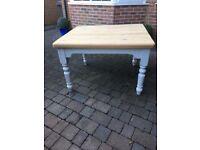 Gorgeous pine plank scrub top table