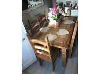 Rustic farmhouse dining table and 6 chairs 5ft