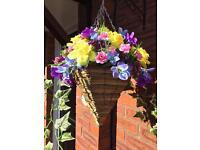 Silk flower garden hanging basket