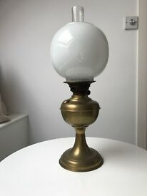1950's Oil Lamp, white glass globe shade