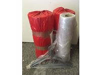 "40"" Polythene Garment Cover x2 AND metal/wire hangers (Ironing/Laundry Supplies)"