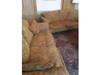 2 x two seater traditional patterned sofas