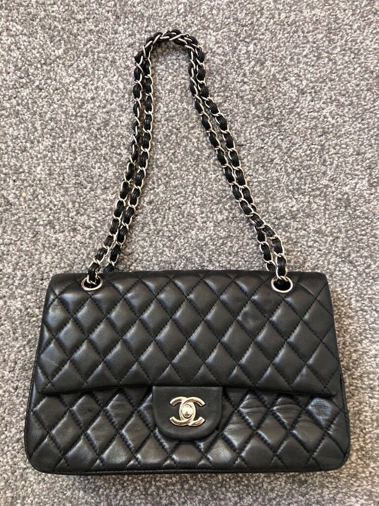 f13baa26df3 Silver chain classic black leather bag quilted clutch shoulder bag  adjustable strap size