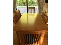Dining Table - M & S Solid Oak - Side Board & 8 Chairs
