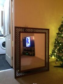 Wood/Wrought Iron Mirror