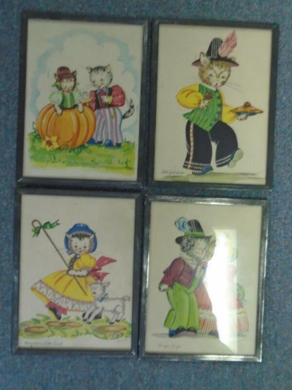 Set of 4 VTG K Townsend Nursery Rhyme Framed Cat Prints