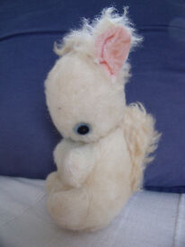 Vintage handmade (probably) soft toy, cream faux-fur, pink velvet ears, squirrel. £5 ovno.