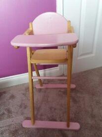 Dolls wooden high chair