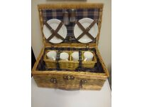 Wicker picnic basket/ hamper with 4 sets of ceramic plates, cups, cutlery etc - as new condition