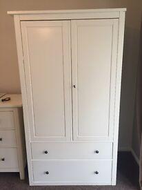 Ikea Hemnes white wardrobe with 2 drawers