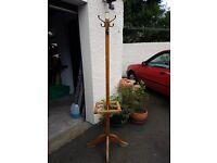 Solid Oak Wood Coat & Umbrella Stand