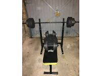 Brand new unused weight bench, bar, dumbbells and weights for sale. cost £147 from argos