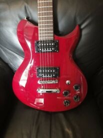 1998 Washburn W1-65prp solid mahogany electric guitar finished in translucent cherry red