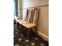 Cream Leather and Oakwood Chairs- Marks and Spencers