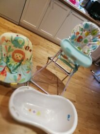 Highchair, Bouncer and Baby bath