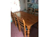 lovely large table and 6 chairs FOR SALE