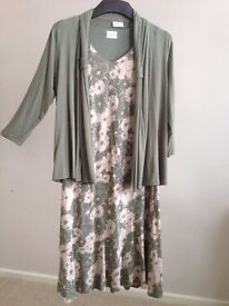 Eastex - Green Print Dress with matching Jersey Cardigan - Ladies size 12
