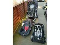 Graco double pushchair with car seat and base