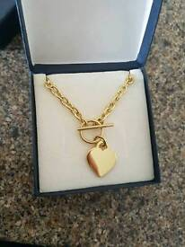 Gold Plated Silver T Bar Necklace and Bracelet