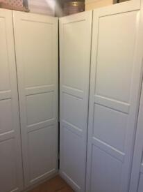 Sold White double wardrobe shell for sale with rail