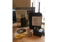 BELKIN broadband router & associated cables, set up disc etc