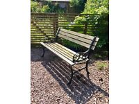 Cast Iron And Wood Garden Bench / Seat