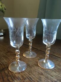 3 sherry glasses with etched bowls and twisted stems