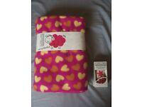 Brand New Sweet Snuggles Pink with Hearts Blanket & Choc Vanilla Hand Cream