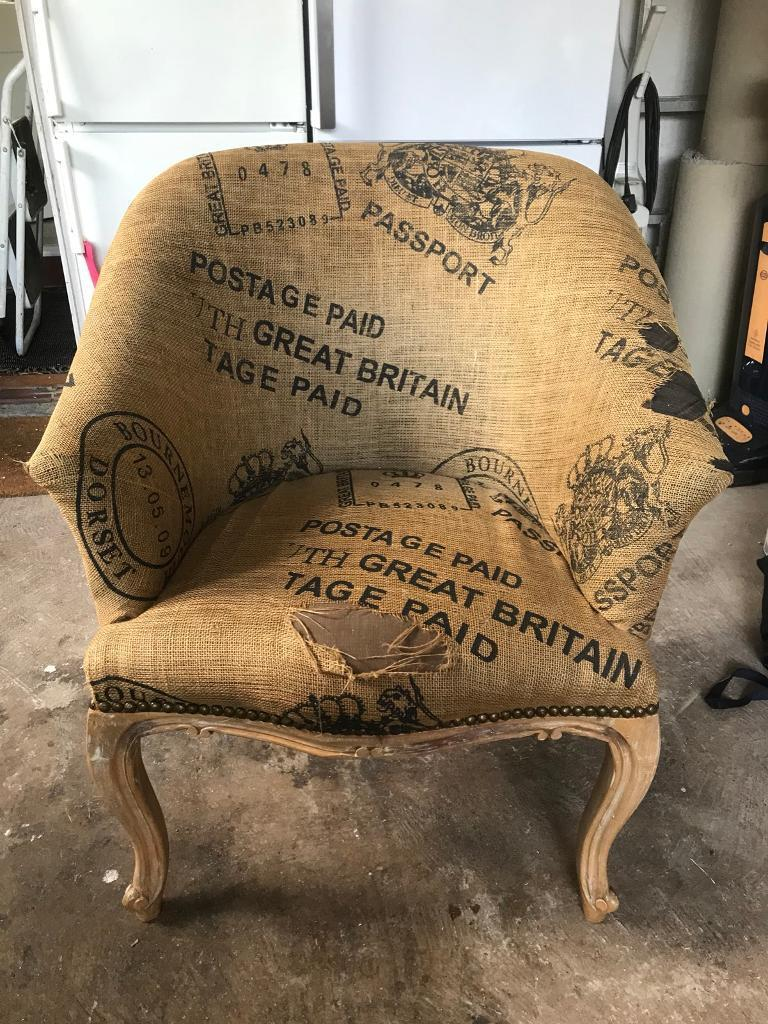 Beautiful Shaped Chair - needs re covering