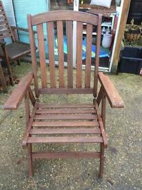Hardwood reclining garden chair