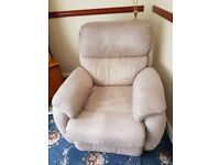 three piece suit three seater sofa one armchair and on recliner