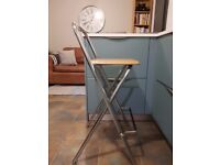 2 wood and chrome folding kitchen stools