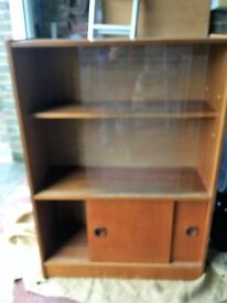 TEak bookcase with glass doors