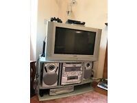 Television and 6 CD player with stand